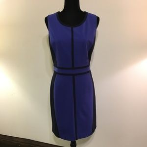 NY&Co Stretch Navy/Blue Colorblock Dress